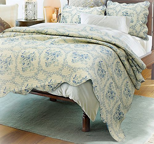 (Cozy Line Home Fashions Victorian Rose Bedding Quilt Set, Scalloped Edge Beige Flower Pattern Printed 100% Cotton Reversible Coverlet Bedspread, for Bedroom Guestroom (Royal Blue, Queen - 3 Piece))