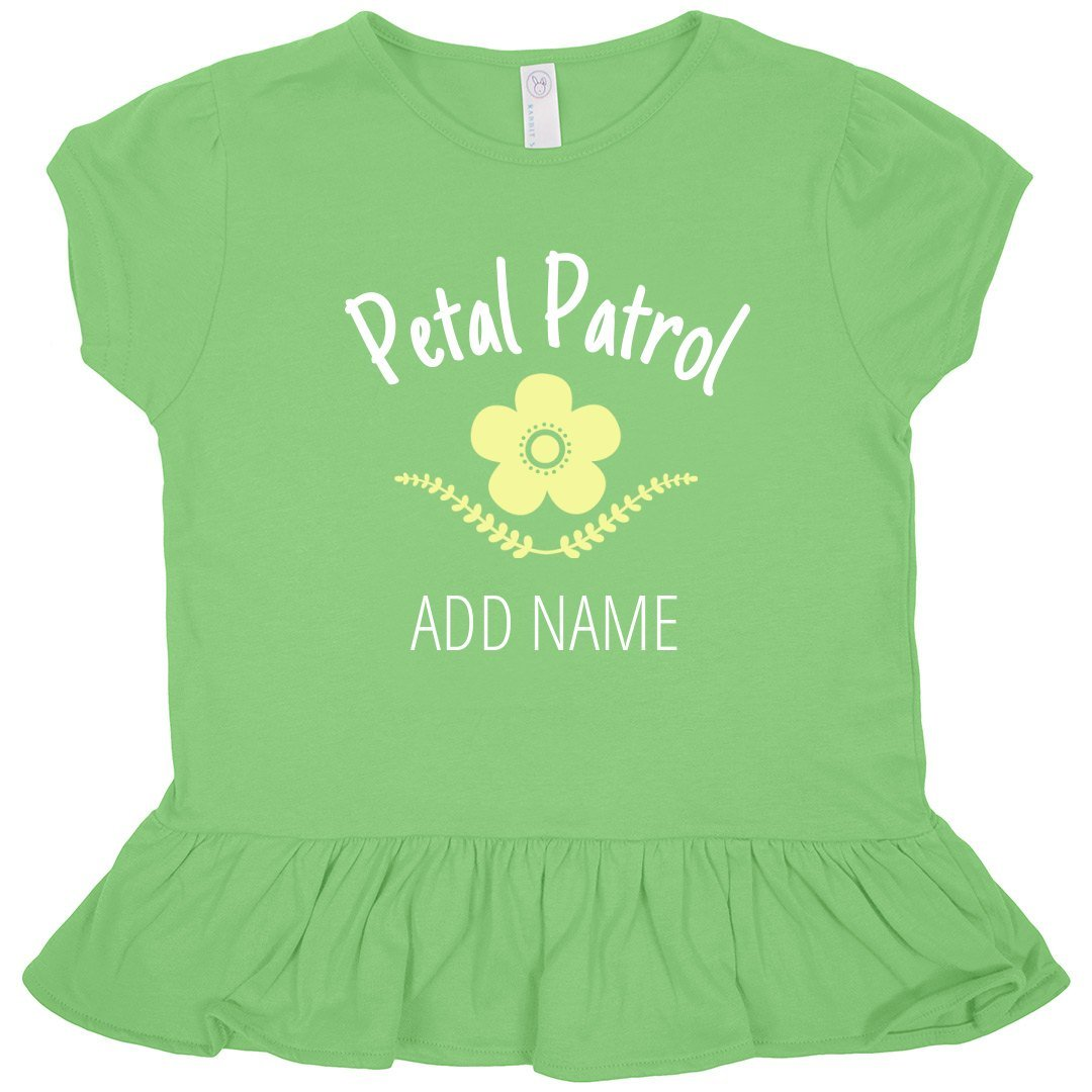 Custom Toddler Petal Patrol: Toddler Rabbit Skins Ruffle Fine Jersey Tee