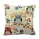 Retro Home Car Bed Sofa Decorative Vintage Owl Pillow Case Cushion Cover