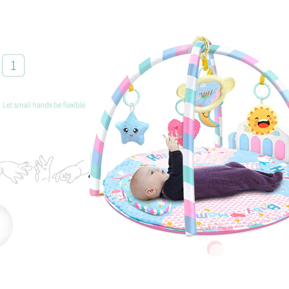 LamicAR Baby Cartoon Cradle Education Toy Fitness Frame Piano Music Blanket Crawling Mat Light Pink by LamicAR (Image #7)