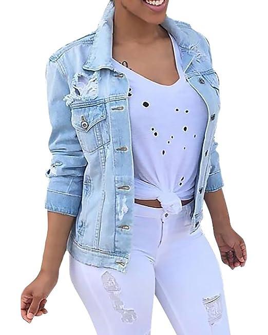 Battercake Chaquetas De Mujer Vaqueras Azul Claro Otoño Fiesta Corto Abrigos De Jeans Tallas Casuales Mujeres Grandes Desgarrado Chaqueta Denim Elegantes ...
