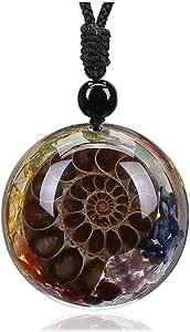 Jovivi 7 Chakra Gemstone Reki Healing Crystal Necklace Round Circle Shape Ammonite Fossil Resin Chip Stones Pendant Necklace for Women Men Tree of Life Jewelry