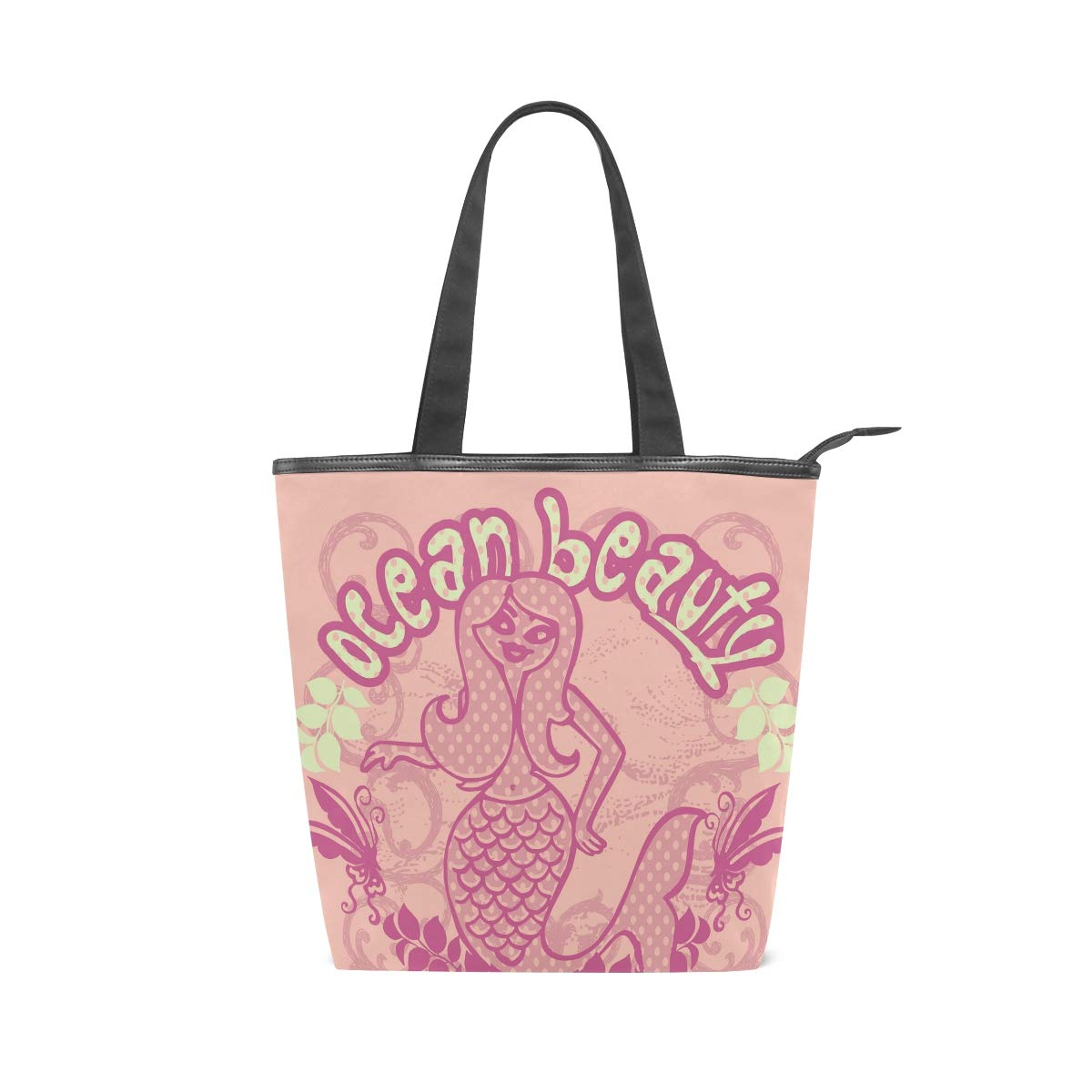 SHANGLONG Fashion Beauty Mermaid Ocean Printed Canvas Tote Bags Women Casual Large Capacity Bags Daily Use