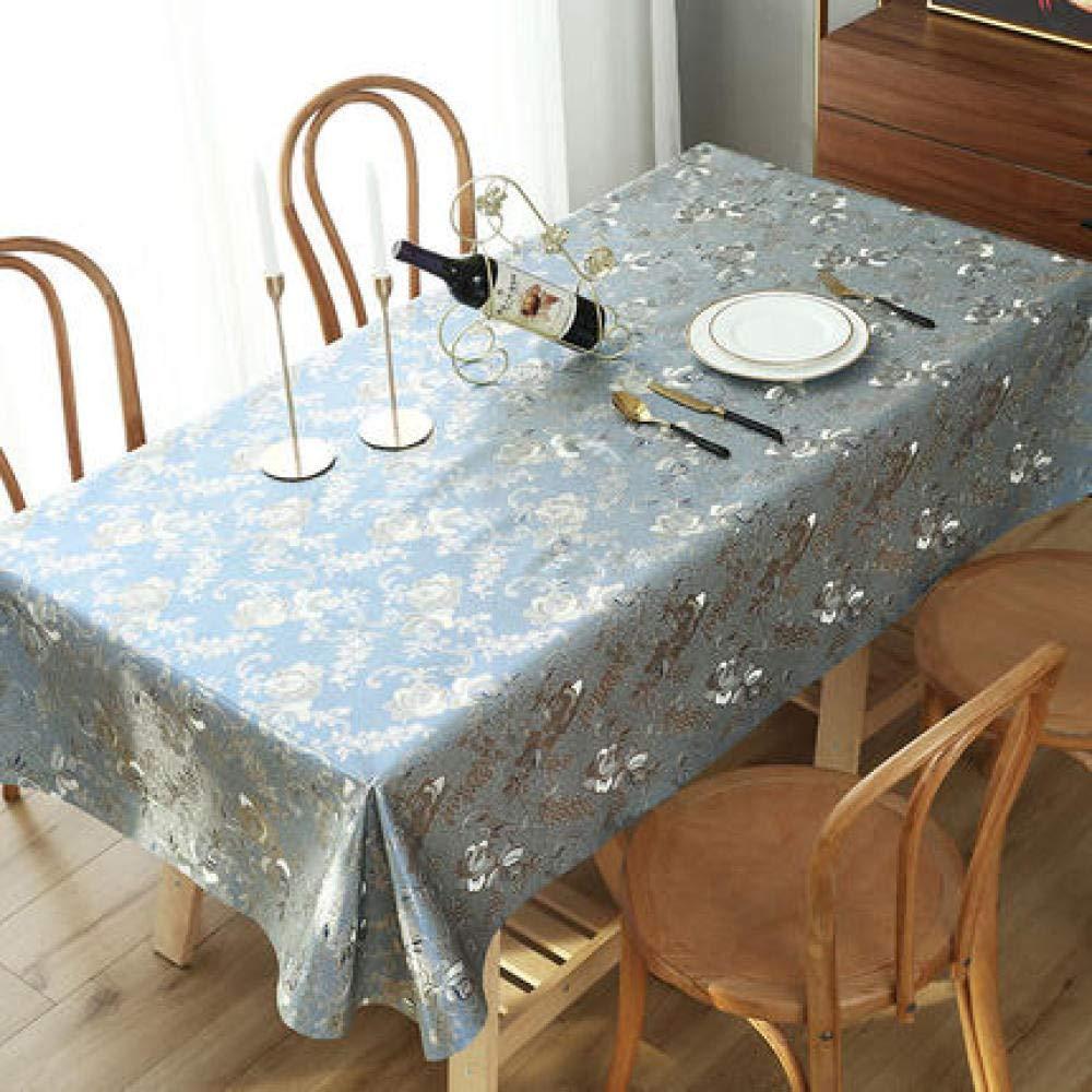 WJJYTX gartentischdecke eckig, Wipe Clean, Vinyl/Kunststoff Tischdecke Runde Rechteckige Tischdecke Heißprägen Blau @ 90 * 90