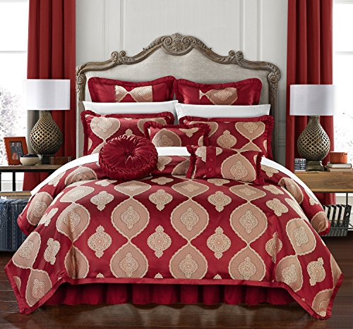 Chic Home Jamay 13 Piece Comforter Set Jacquard Scroll Faux Silk Bed in a Bag Bedding with Pleated Flange - Sheets Bed Skirt Decorative Pillows Shams Included, Queen Red