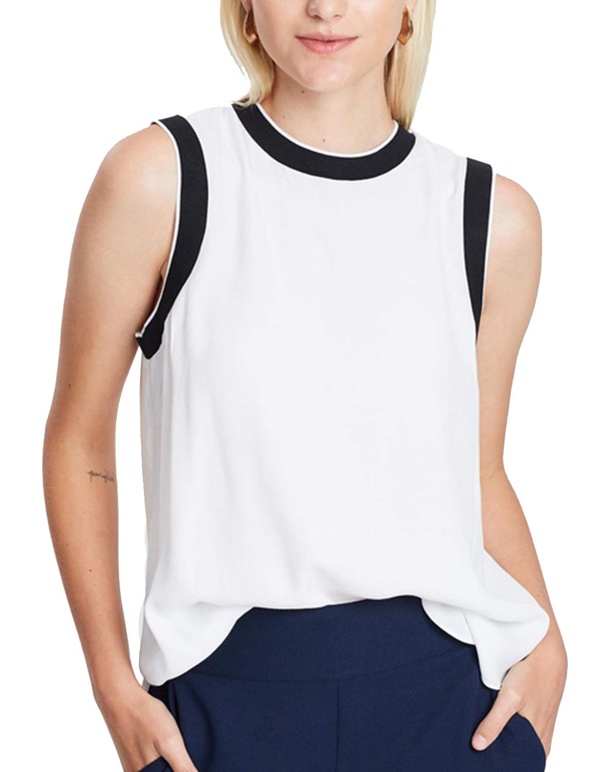 Blooming Jelly Women's Crew Neck Sleeveless Color Block Black White Top