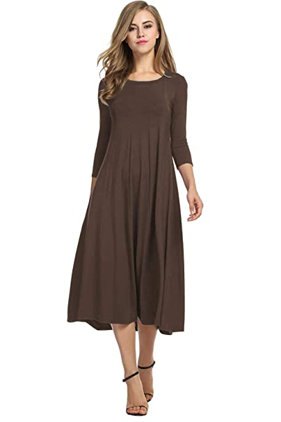 Women's A-line and Flare Midi Long Dress