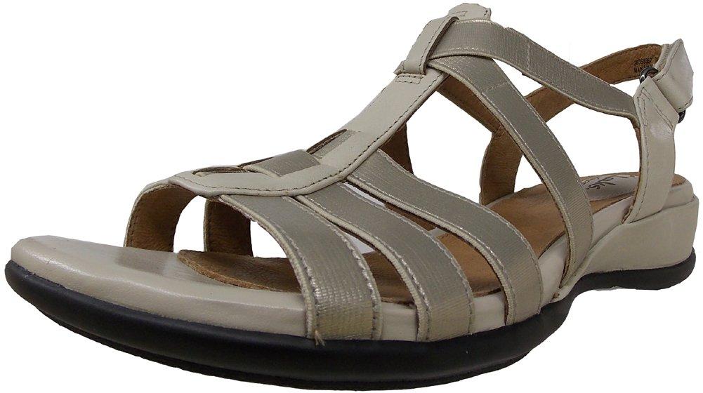 CLARKS Women's Tiffani Oribel Wedge Sandal B00JFDBICM 5.5 B(M) US|Stone