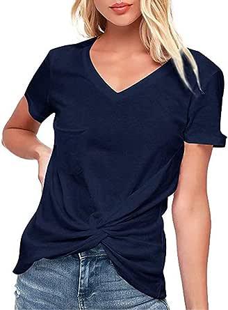 VEMOW Camiseta de Mujer Blusas Camisetas Manga Corta de Mujer con Cuello de Pico Camisas Tops