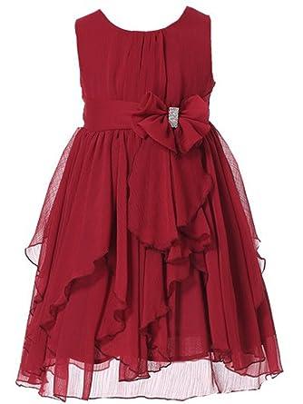 d43e7ff8b9f Amazon.com  Bow Dream Flower Girl Dress Ruffled Chiffon  Clothing