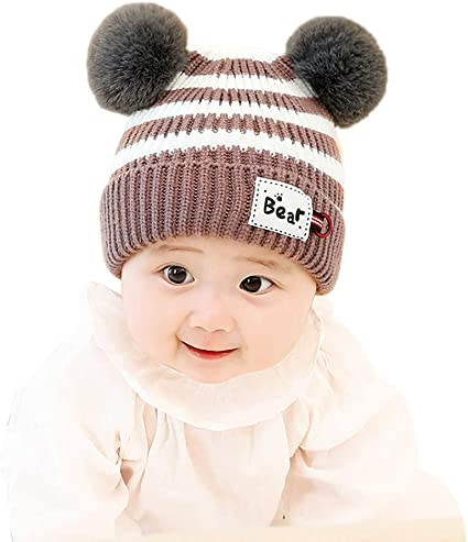 Infant Toddler Baby Boy Girl Fur Pom Ball Crochet Knit Hat Warm Beanie Cap+Scarf