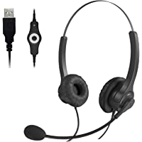 USB Headset with Microphone, USB Wired Computer Headsets, Noise Cancelling Mic and in-line Controls, Headphones with…