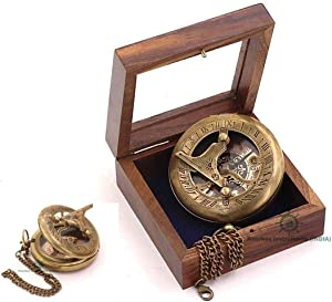 ROORKEE INSTRUMENTS (INDIA) A NAUTICAL REPRODUCTION HOUSE RII Stempunk Sundial Compass with Display Box/Graduation Day Gift/Sundial Clock/Engraved Compass/Custom Compass