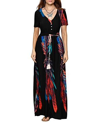 a809929c49e6 Aofur Casual Womens Holiday Boho Floral Maxi Ladies Summer Beach Party Dress  Plus Size 8-24  Amazon.co.uk  Clothing