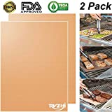 #7: RVZHI Copper Grill Mat Set of 2 - Non-stick BBQ Grill & Baking Mats - FDA Approved, PFOA Free, Reusable and Easy to Clean - Works on Gas, Charcoal, Electric Grills - 15.75 x 13 inches
