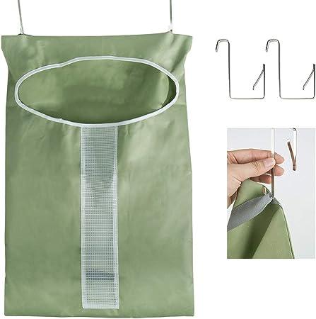 Dsaren Hanging Laundry Hamper Bag Dirty Clothes Storage Basket Space Saving Laundry Bag with Hooks For Bedroom Bathroom Dorm Room Nursery Closets Double pocket