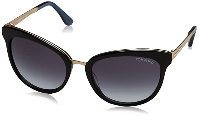 a695588b33d Image Unavailable. Image not available for. Color  Tom Ford TF461 05W Black Blue  Emma Cats Eyes Sunglasses Lens Category 3 Size