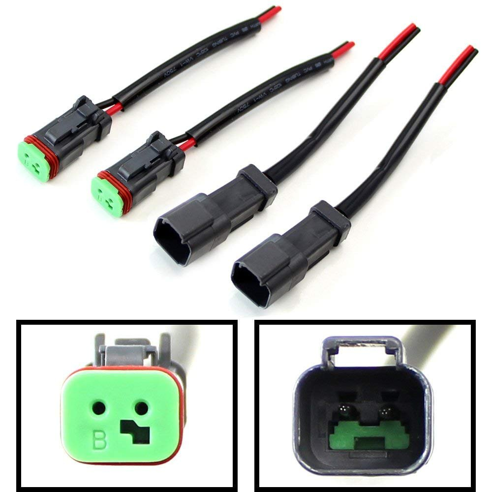 Ijdmtoy 2 Pk Heavy Duty Deutsch Dt Dtp Male Female Ford Wiring Harness Kits Plugs Adapters Connectors Pigtails Good For Cubic Led Pod Lights Light Bar Work Lamps