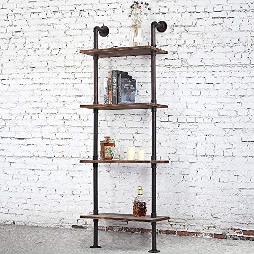 Cheap  DIWHY Industrial Rustic Modern Wood Ladder Pipe Wall Shelf 4 Layer Pipe..