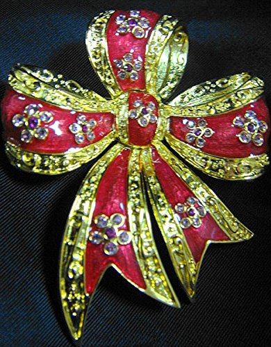 Joan Rivers Classics Vtg QVC Rose Epoxy Enameled and Goldtone HOLIDAY RIBBON BOW Christmas Pin with Swarovski Rhinestones-BOOK PIECE, Signed & Rare