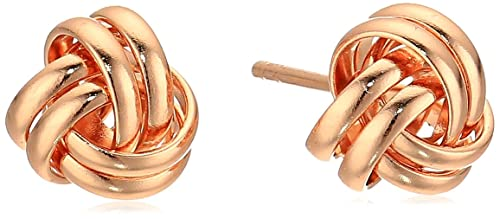 e13f8088a Amazon.com: Rose Gold Plated Sterling Silver Thick Love Knot Post Stud  Earrings: Jewelry