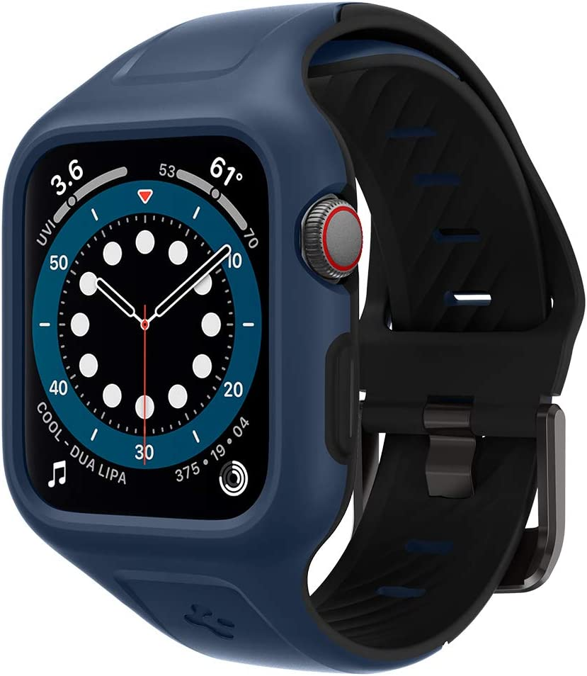 Spigen Liquid Air Pro Designed for Apple Watch Band with Case for 44mm Series 6/SE/5/4 - Blue