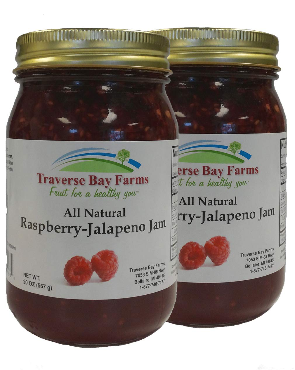 Traverse Bay Farms All Natural Raspberry Jalapeno Jam - 2 pack - (Pepper Jelly)