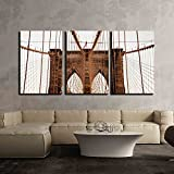 new york brooklyn bridge wall art - wall26 3 Piece Canvas Wall Art - Brooklyn Bridge, New York, Usa - Modern Home Decor Stretched and Framed Ready to Hang - 24