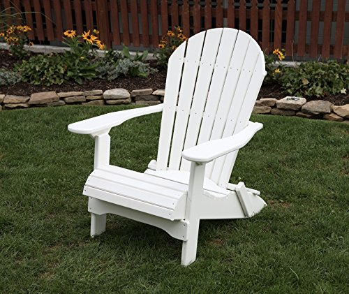 Ecommersify Inc Bright White-Poly Lumber Folding Adirondack Chair with Rolled Seating Heavy Duty Everlasting Lifetime PolyTuf HDPE - Made in USA - Amish Crafted ()