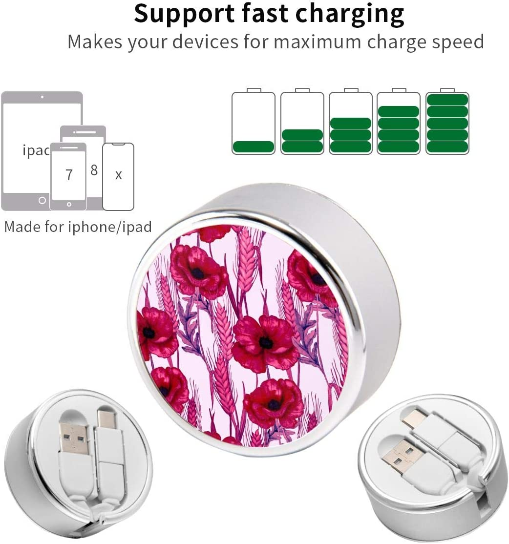 Retractable Multi Cable White Plumeria Durable Charging Cable for Android Smartphones and More Frangipani 4ft Pagoda Trees Natural 2 in 1 Retractable Powerline Type C Data Cable