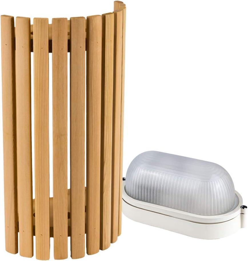 Kit de Iluminaci/ón para Sauna Pantalla Sawo 914-VP de Pino con L/ámpara de Sauna E27 IP54 y Cable de Silicona de 5 m SiHF
