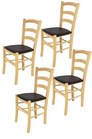 Tommychairs sillas de Design - Set 4 sillas Modelo Venice para Cocina, Comedor, Bar y Restaurante, con Estructura en Madera Color Natural y Asiento ...