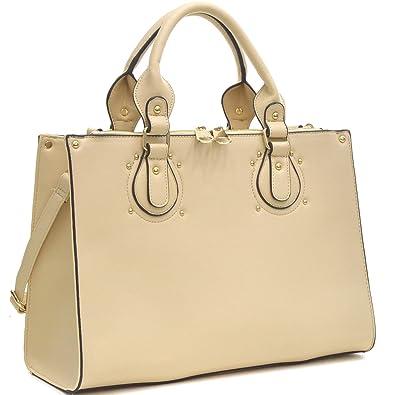 9f6a3692961 Dasein Designer Faux Leather Padlock Handbag Lock Satchel Purse Briefcase  Tablet iPad Bag (AP8808-
