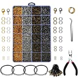 Yblntek 3143Pcs Jewelry Findings Jewelry Making Starter Kit with Open Jump Rings, Lobster Clasps, Jewelry Pliers, Black Waxed Necklace Cord for Jewelry Making Supplies and Necklace Repair
