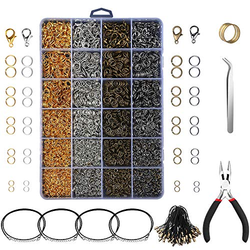Yblntek 3143Pcs Jewelry Findings Jewelry Making Starter Kit with Open Jump Rings, Lobster Clasps, Jewelry Pliers, Black Waxed Necklace Cord for Jewelry Making Supplies and Necklace - Supplies Jewelry Maker
