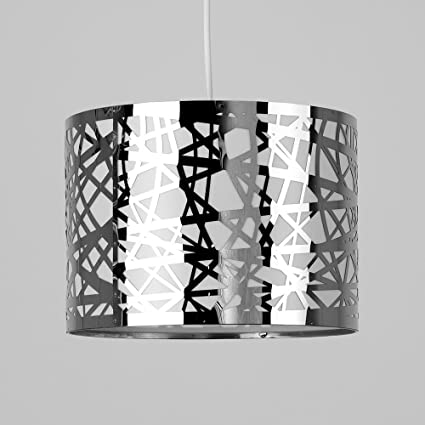 metallic pendant lighting design discoveries. Modern Decorative Polished Chrome Effect Lattice Web Metal Cylinder Ceiling Pendant Drum Light Shade: Amazon.co.uk: Lighting Metallic Design Discoveries