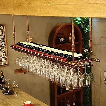 Modi Support Bouteille Porte Verre De Vin Rouge Bar Comptoir Casier à Vin Suspendu Porte Gobelet Vintage Haut Porte Gobelet De Vin Suspendu