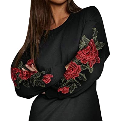 Nesee Women Clubwear Flowers Embroidery Casual Outfit Autumn And Winter Long Sleeves Top