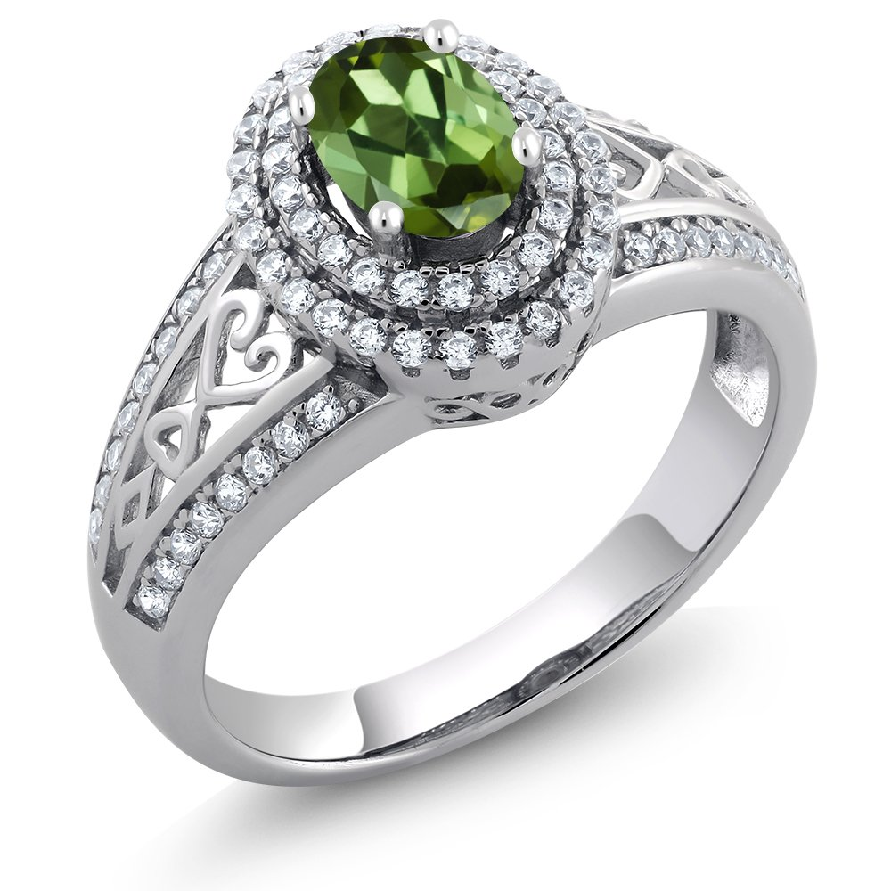 Green Tourmaline 925 Sterling Silver Women's Ring (1.36 Ctw Oval, Available in size 5, 6, 7, 8, 9)