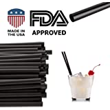 "Jumbo Black Drinking Straws (5.75"" x 0.24"") 