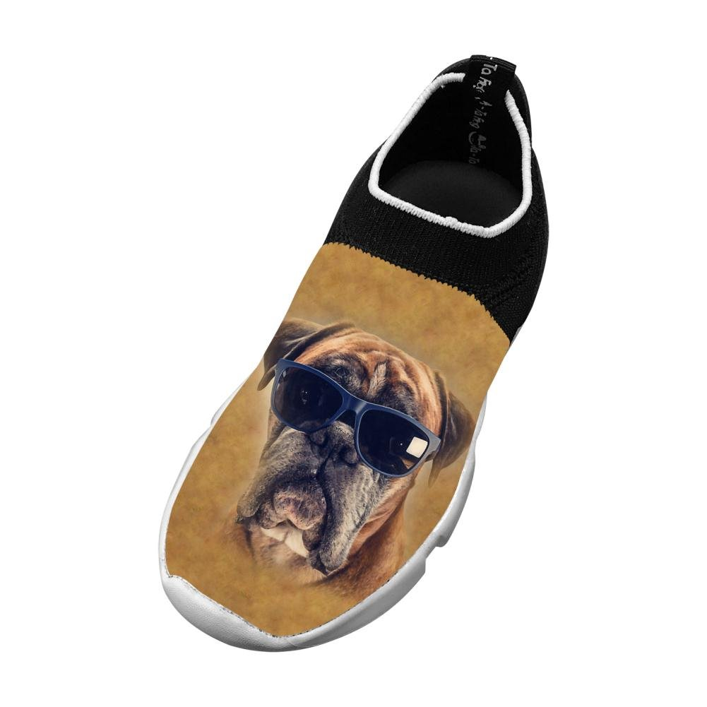 Boxer Dog With Sunglasses New Cute Flywire Knitting 3D Printing Running Shoe For Boy Girl
