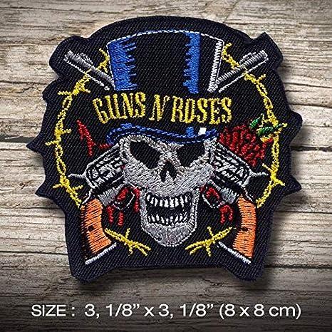Guns N Rose Rocker Skull Hard Rock Heavy Metal parche patch bordado con logotipo para planchar de hierro en apliques de recuerdo de accesorios