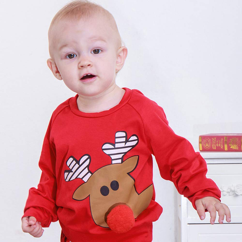 Memela Baby Christmas Outfit,1-3Year Baby Boys Girls Cartoon Deer 3D Nose Christmas Xmas Tops Pullover Outfits