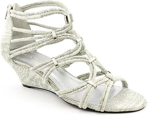 gray open toe shoes