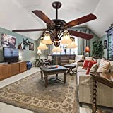 Tropicalfan Vintage Ceiling Fan WIth 5 Light Cover Decorative Home Living Room Dinner Room Fans Quiet Fans Chandelier 5 Wood Reversible Blade 52 Inch