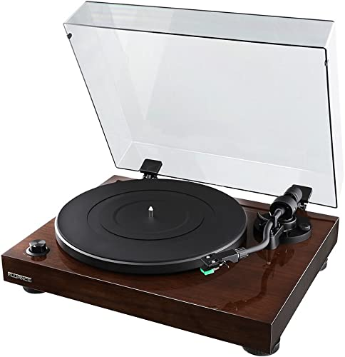 Fluance RT81 Elite High Fidelity Vinyl Turntable Record Player with Audio Technica AT95E Cartridge, Belt Drive, Built-in Preamp, Adjustable Counterweight, Solid Wood Plinth – Walnut