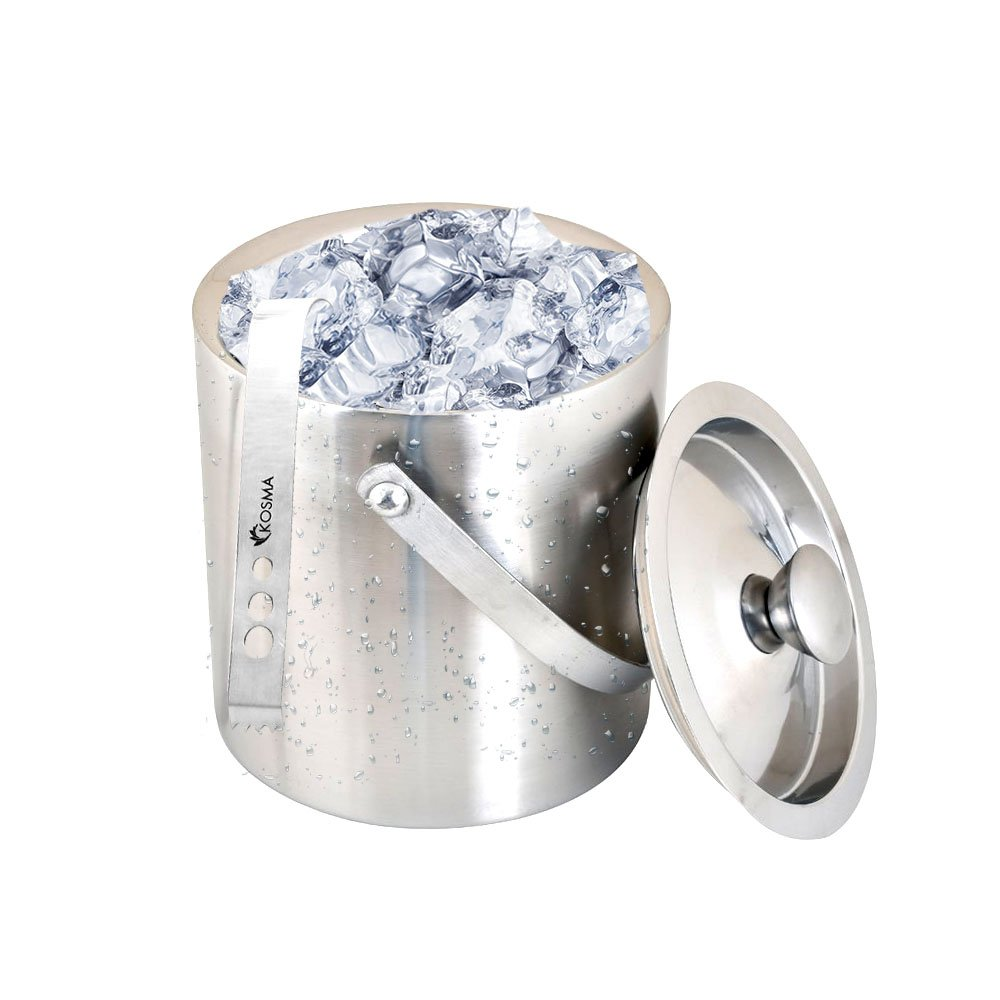 Kosma Stainless Steel Double Wall Ice Bucket with Tongs | Ice Cube Bucket - 18 x 15 cm by Kosma (Image #6)