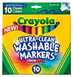 Crayola Ultraclean Broad Line Washable Markers, Color Max, 10 Count