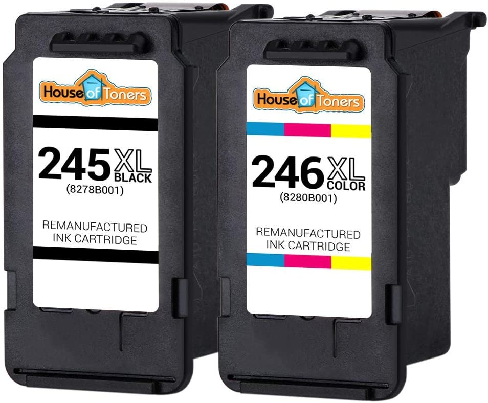 HOT Remanufactured Ink Cartridge Replacement for Canon PG-245XL CL246XL 245 XL 246 XL for PIXMA MG2520 MG2522 MG2525 MX492 TS202 TS302 TS3122 1 Black 1 Color, 2PK