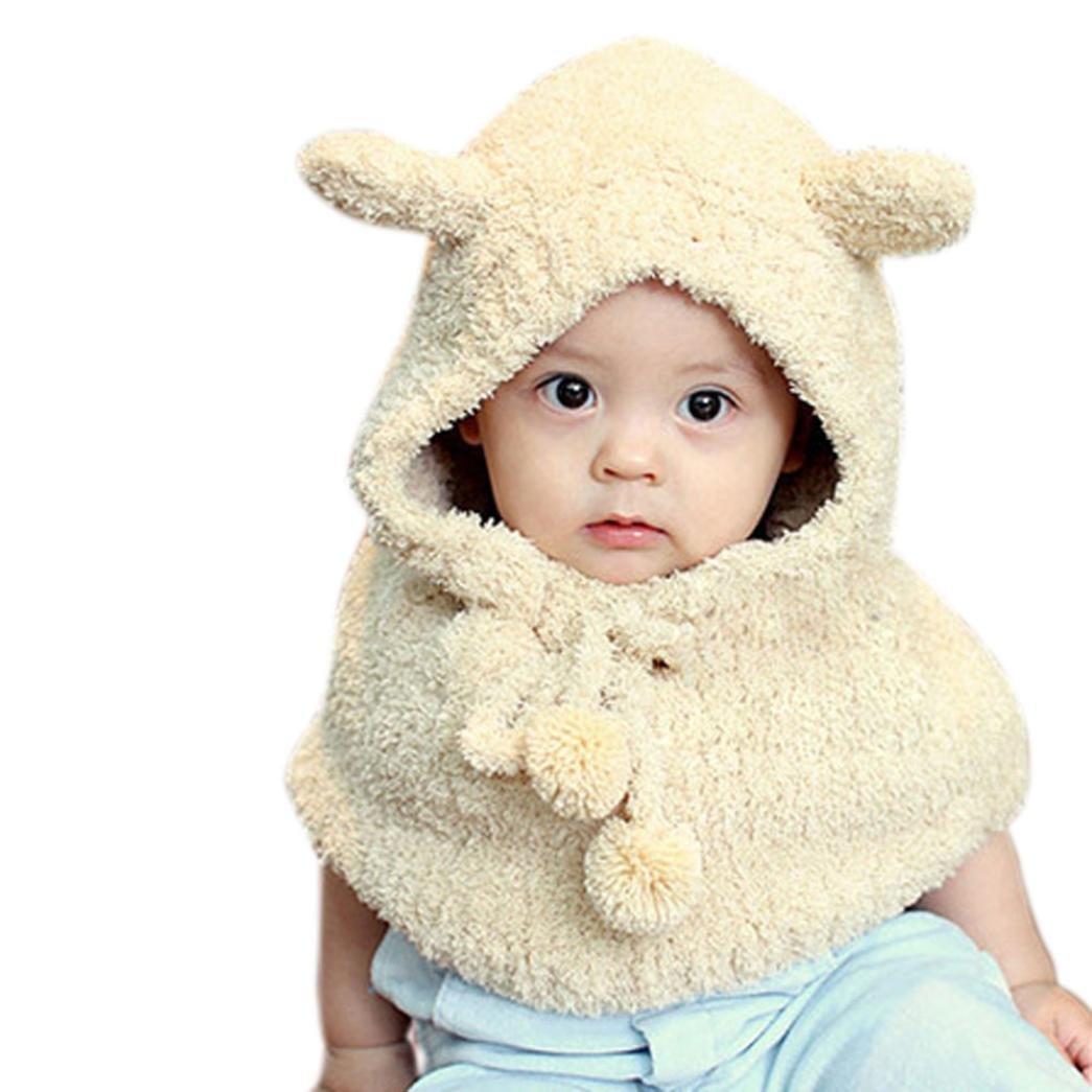 TM Winter Baby Kids Girls Boys Warm Woolen Coif Hood Scarf Caps Hats Yellow Changeshopping
